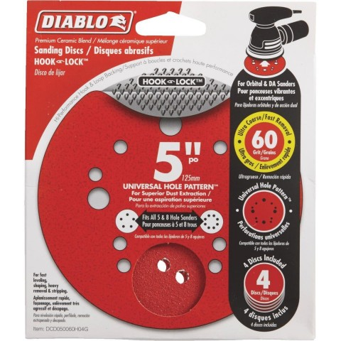 5 in. 60-Grit Universal Hole Random Orbital Sanding Disc with Hook and Lock Backing (4-Pack)