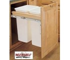 "(4WCTM-2150DM-2)  Rev-A-Shelf Double 50qt. Wood Top Door Mount Pull-Out Waste Container for Full Height Cabinet with 18"" opening"