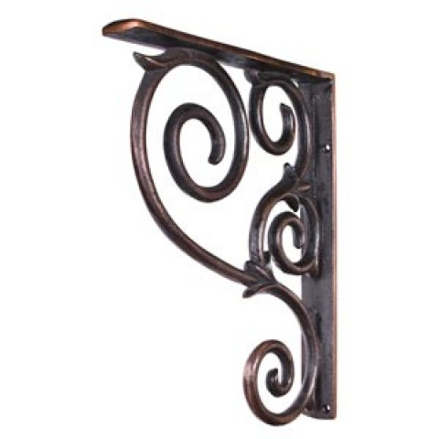 (MCOR1-DBAC) Metal (Iron) Scrolled Bar Bracket  ** CALL STORE FOR AVAILABILITY AND TO PLACE ORDER **