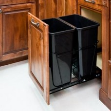 (CAN-35-D)  35-Quart Double Pullout Waste Container System - Black