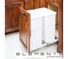 (CAN-35-DW)  35-Quart Double Pullout Waste Container System - White